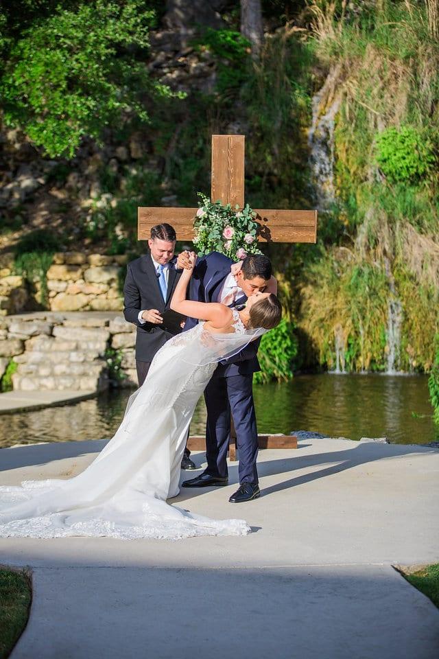 Samantha Wedding Hidden Falls dip kiss