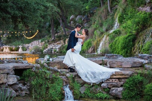 Samantha Wedding Hidden Falls dip at falls