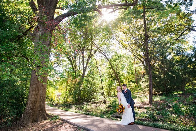 Ft Worth wedding couple in big trees
