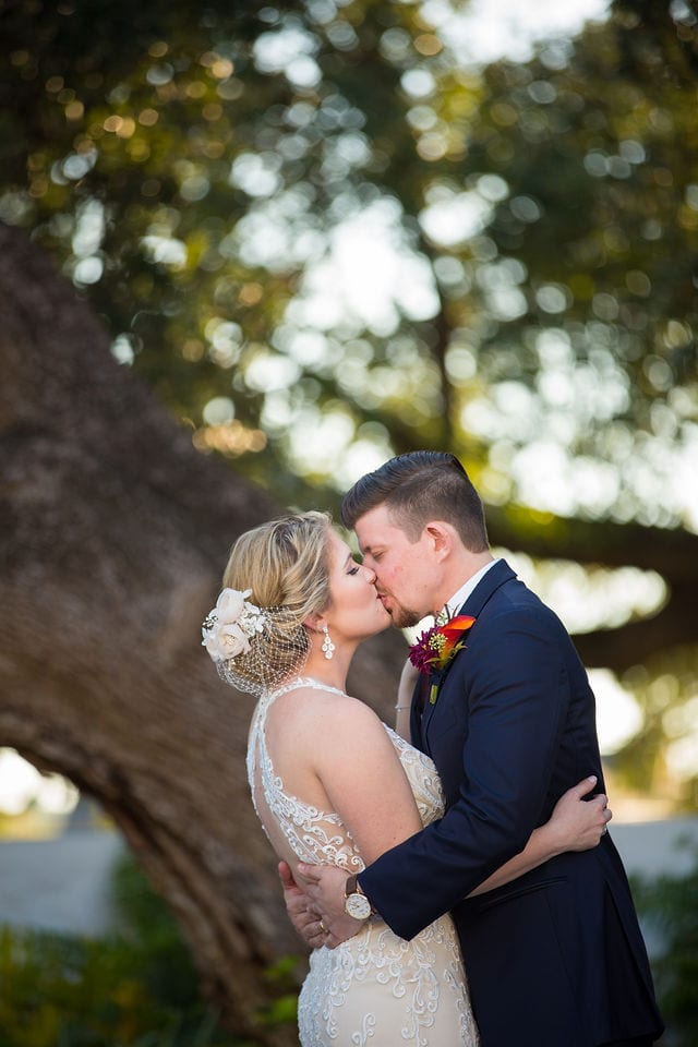 Ft Worth wedding kiss Stonegate Mansion