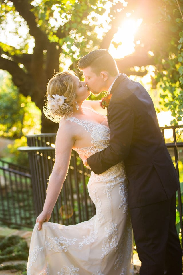 Ft Worth wedding couple sunset dip Stonegate Mansion