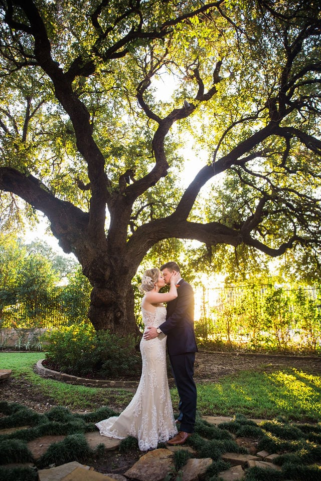 Ft Worth wedding couple sunset tree Stonegate Mansion