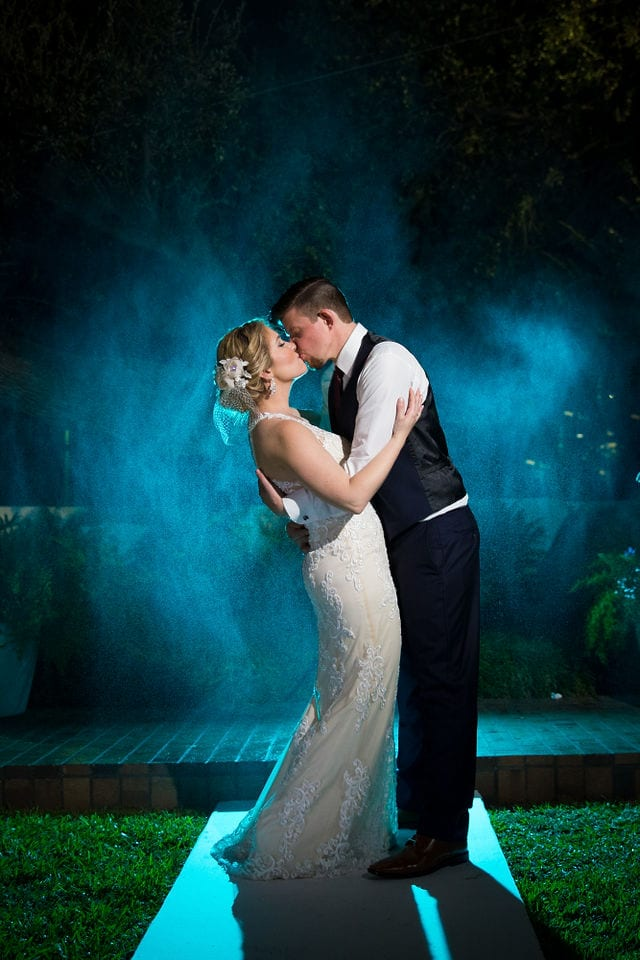Ft Worth wedding couple blue smoke