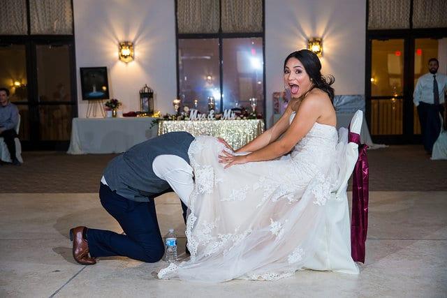Rick wedding San Fernando Hall garter