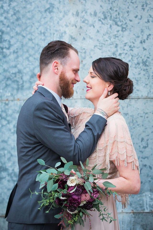 Lauren wedding Seekatz couple close up
