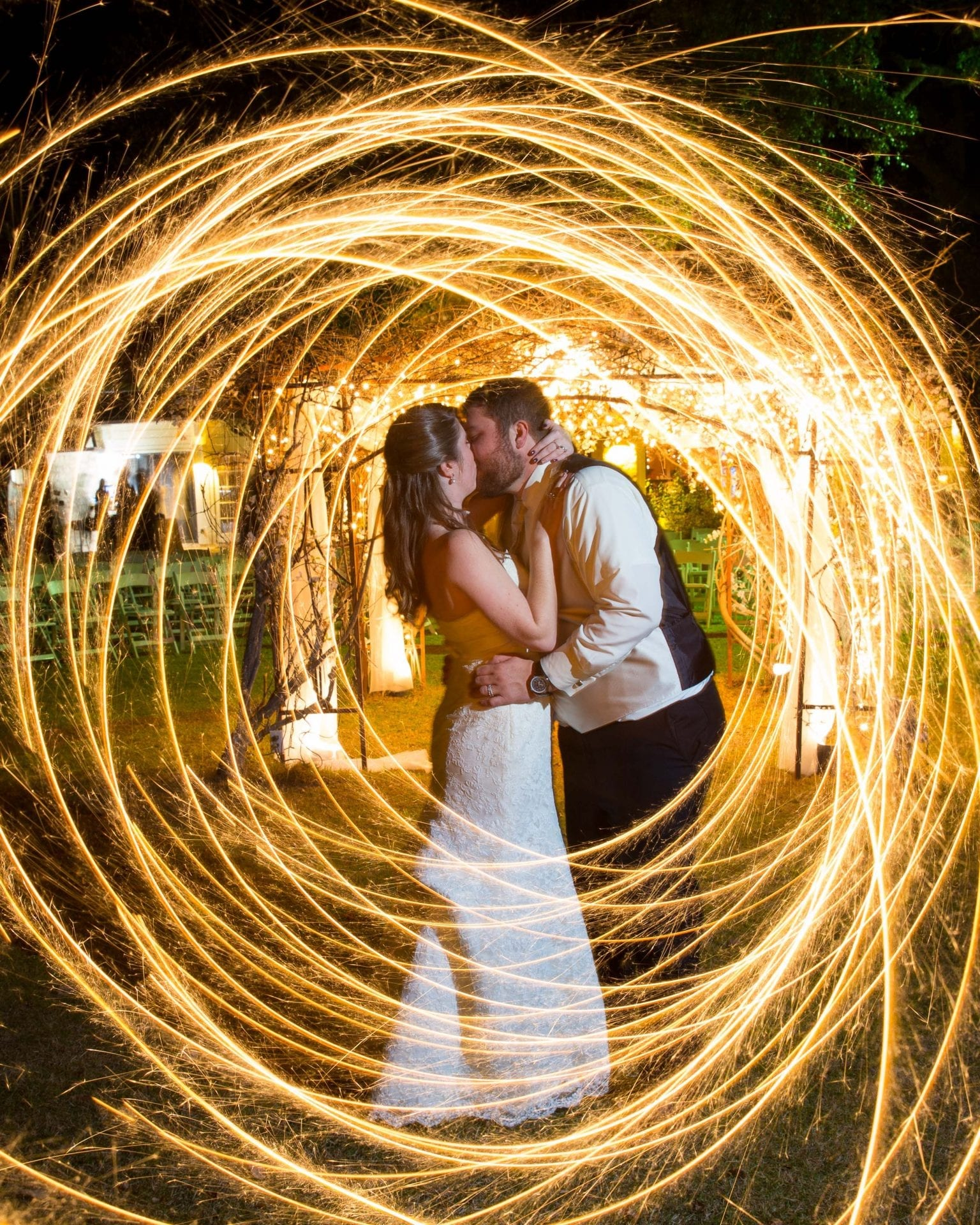 Swirling sparklers with just married couple