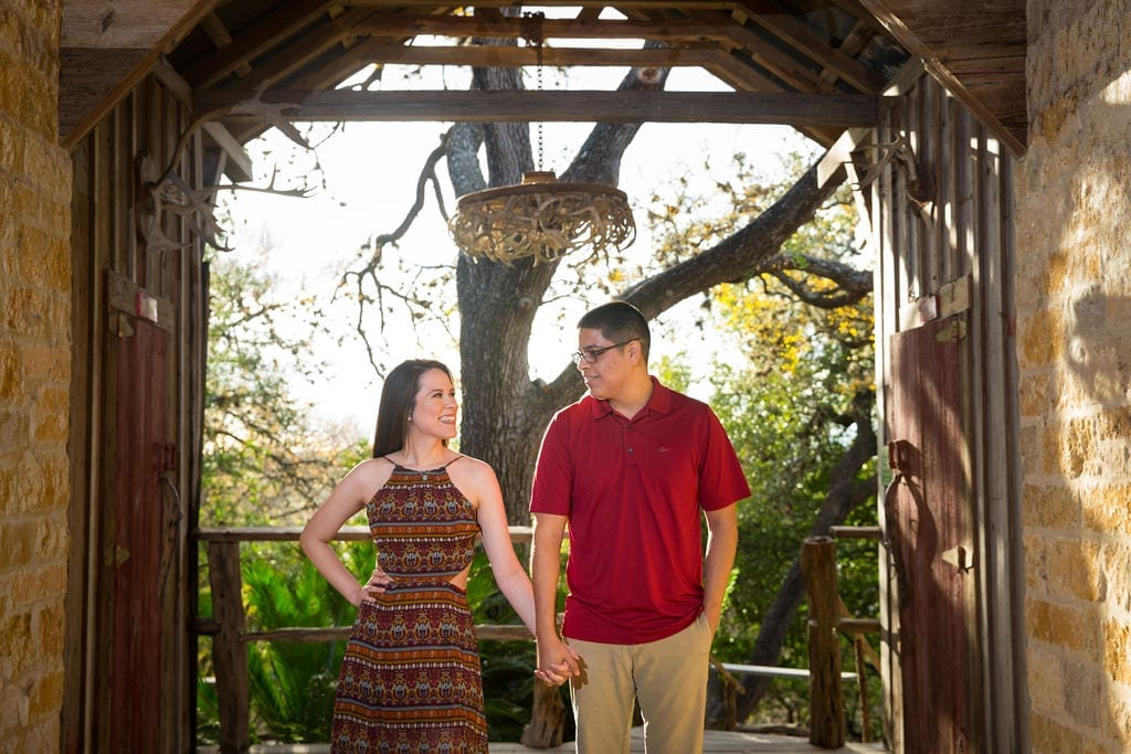 Aamber and Alex engagement session in Gruene Tx breezeway front