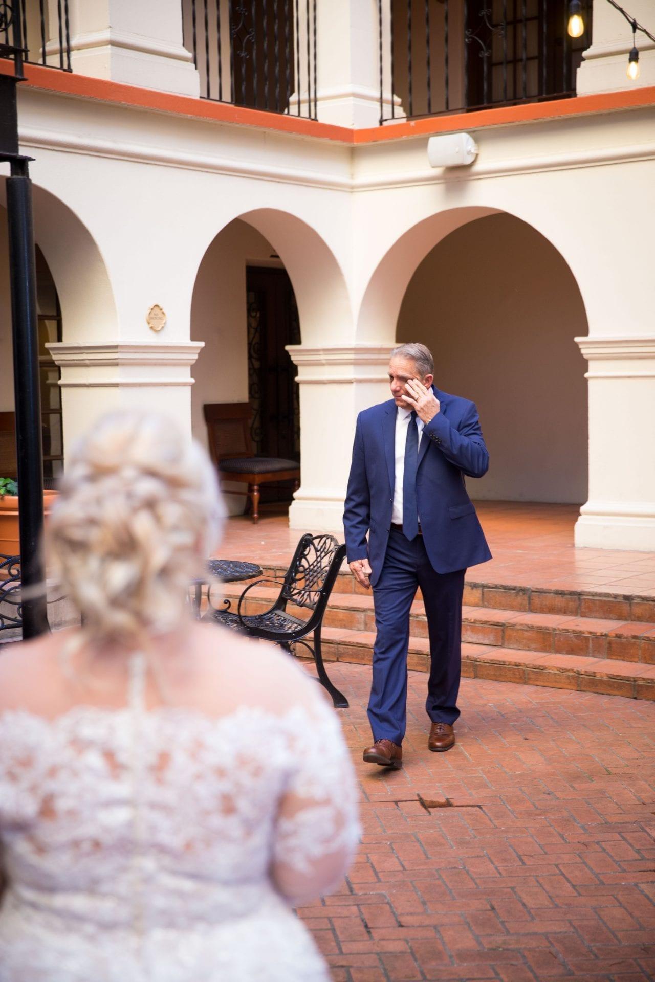 Crawford wedding Omni Del Mansion riverwalk dad crying