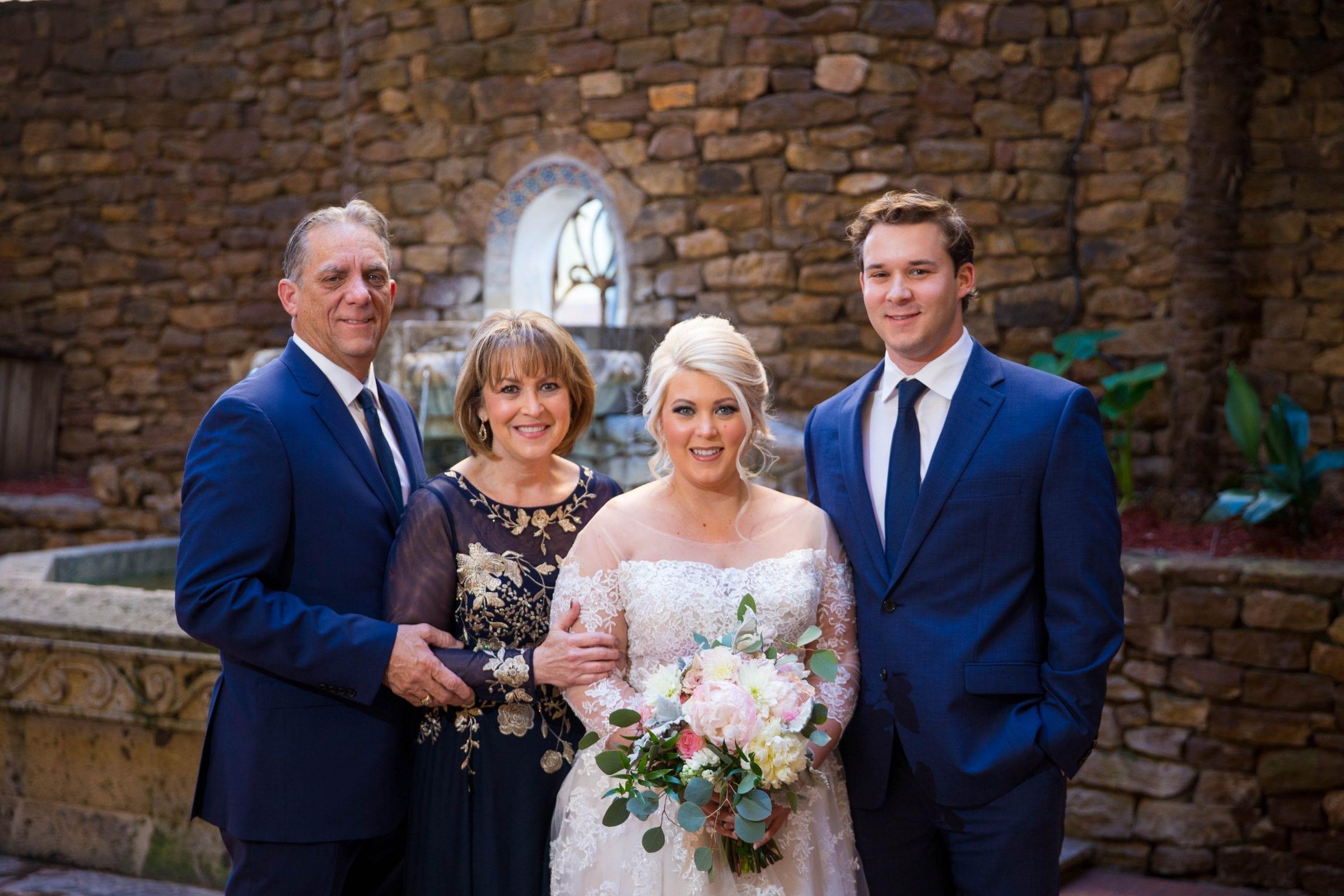 Crawford wedding Omni Del Mansion riverwalk bride and family