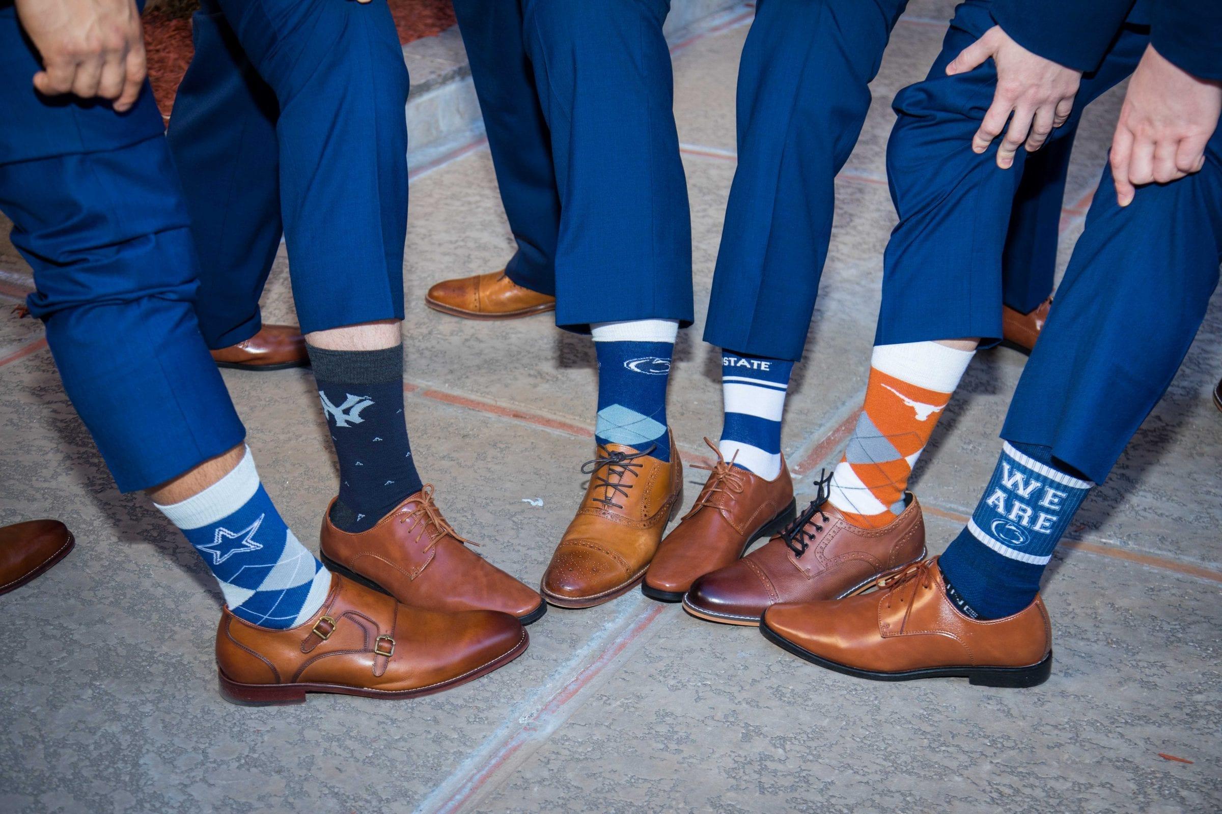 Crawford wedding Omni Del Mansion riverwalk groomsmen socks