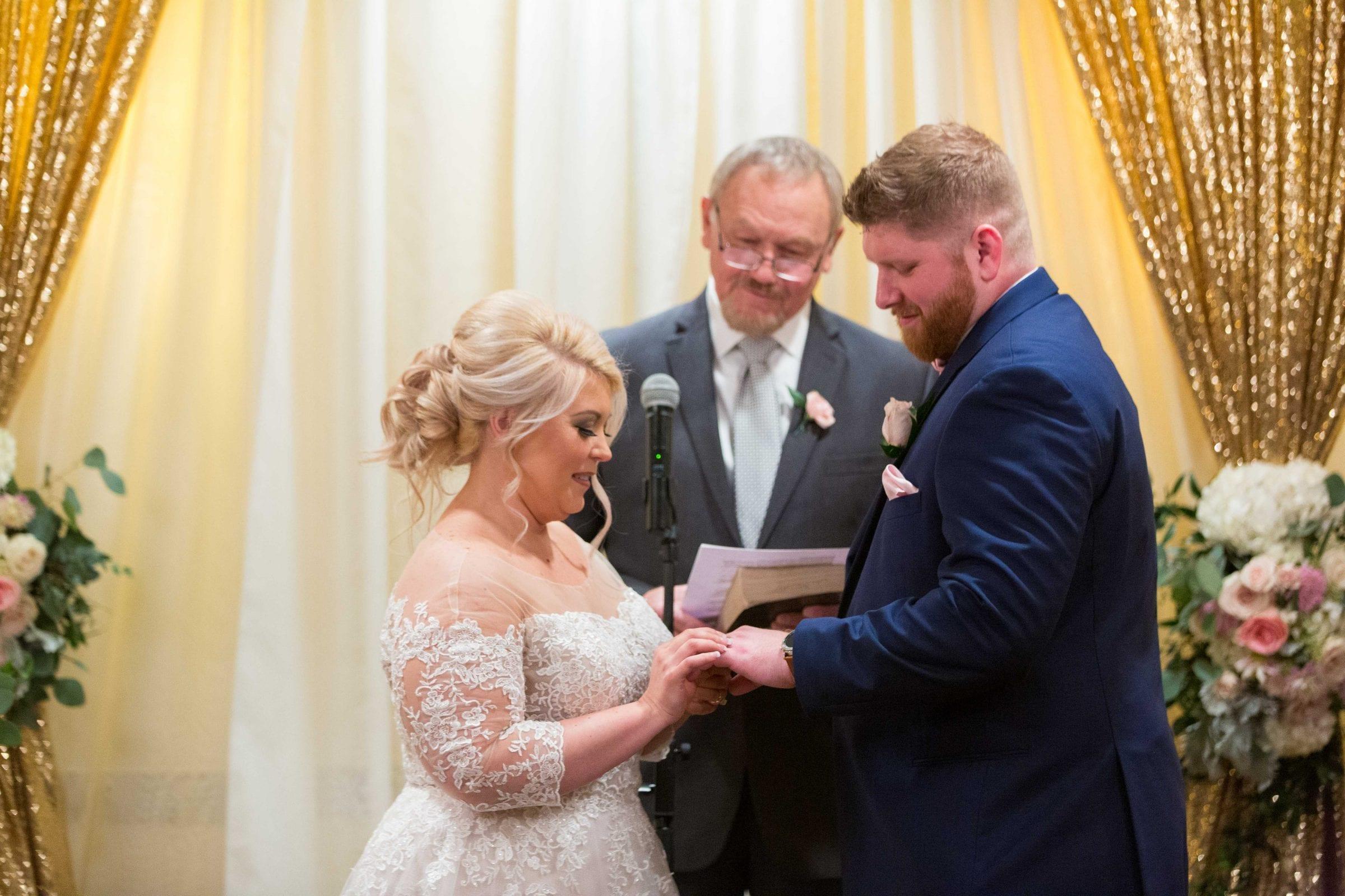 Crawford wedding Omni Del Mansion riverwalk ring exchange her