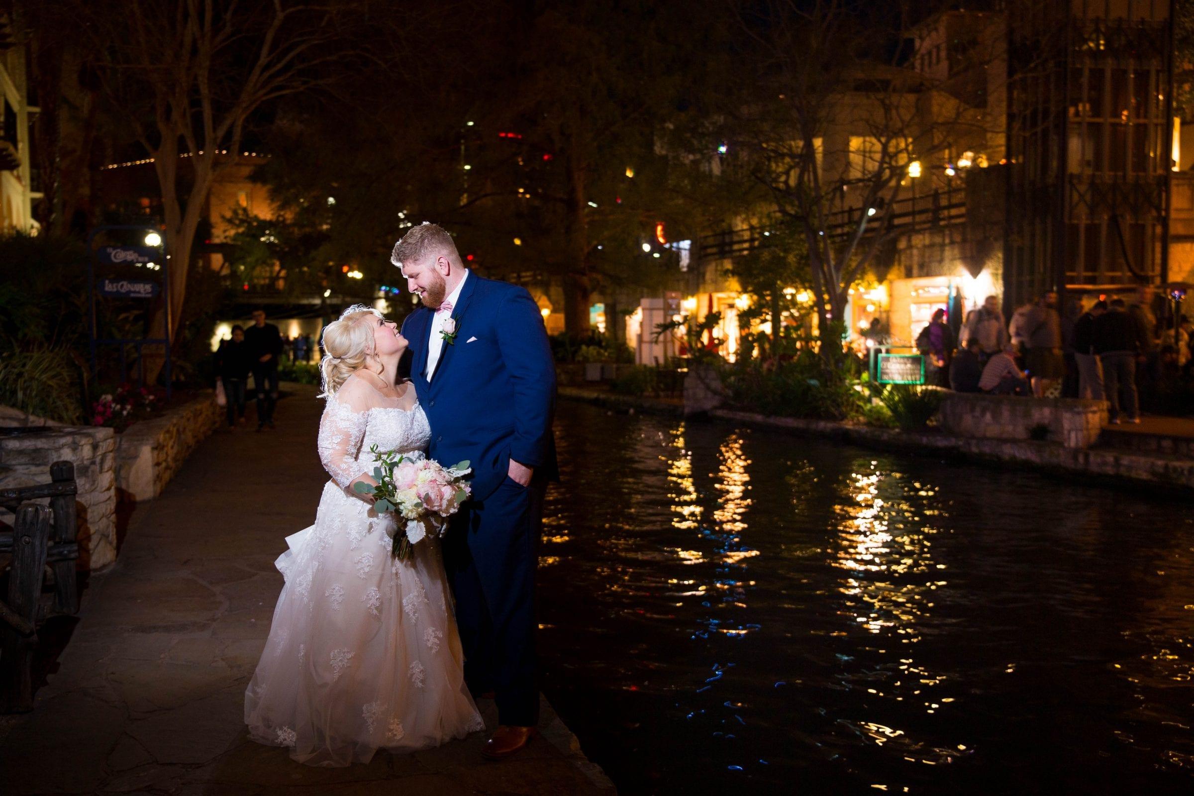 Crawford wedding Omni Del Mansion riverwalk at night