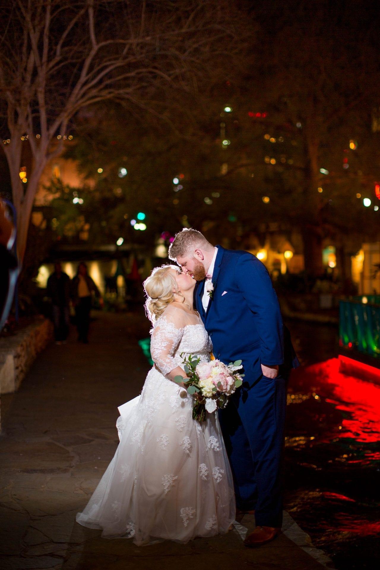 Crawford wedding Omni Del Mansion riverwalk at night close up