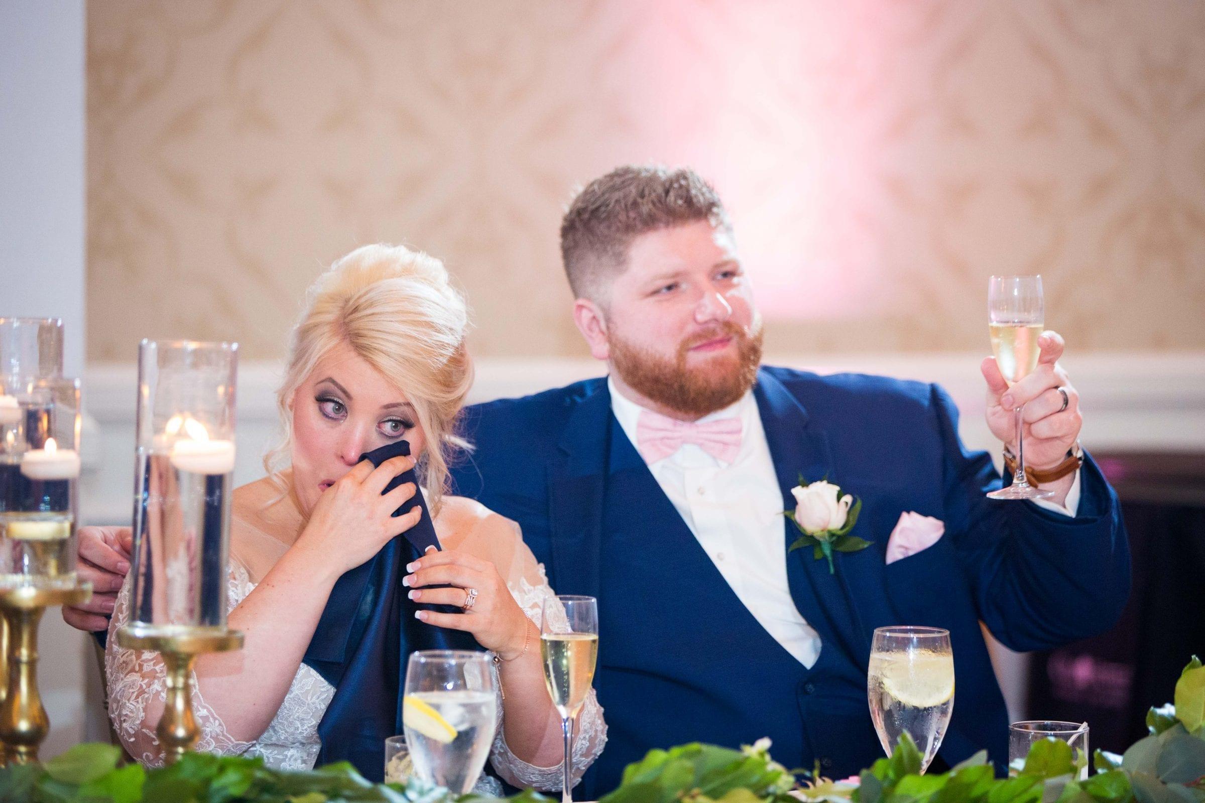 Crawford wedding Omni Del Mansion riverwalk toast cry