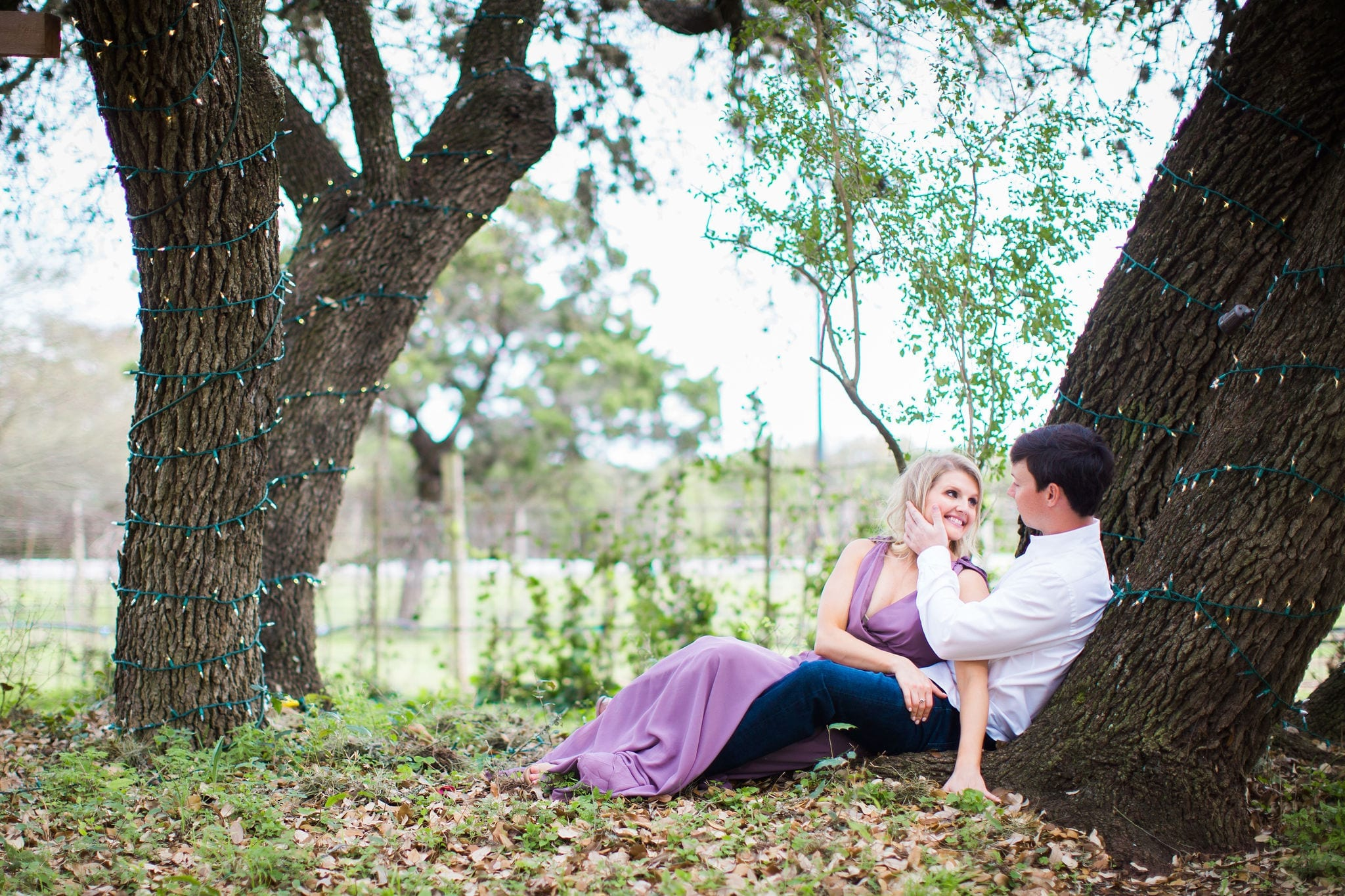 Michele Engagement session at Oak Valley Vineyards sitting in trees