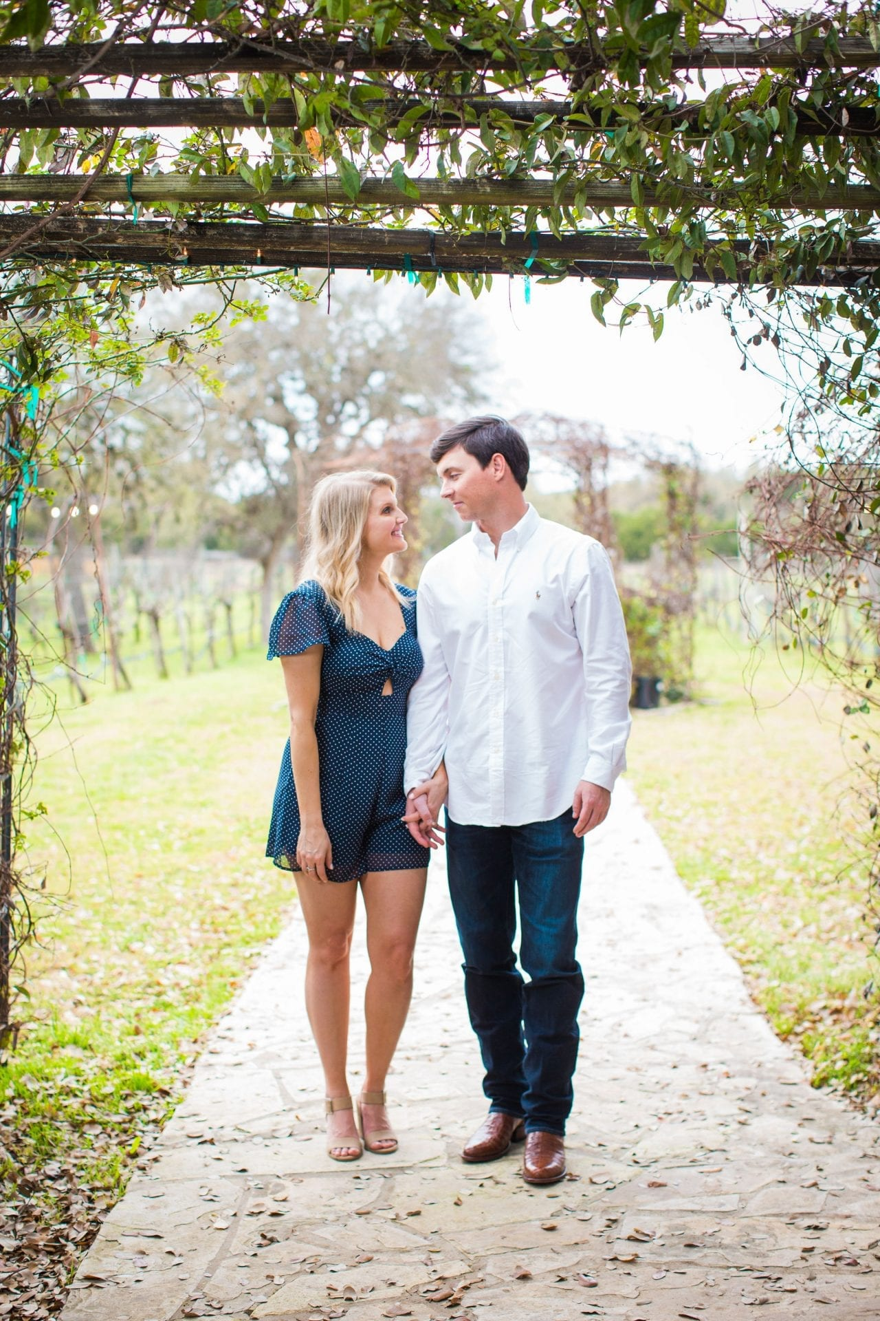 Michele Engagement session in the walkway at Oak Vally Vineyards