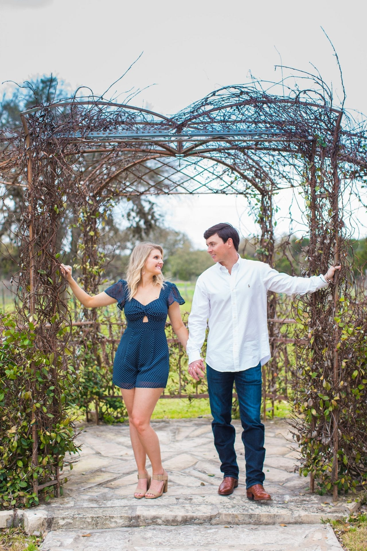Michele Engagement session standing in the gazebo at Oak Vally Vineyards