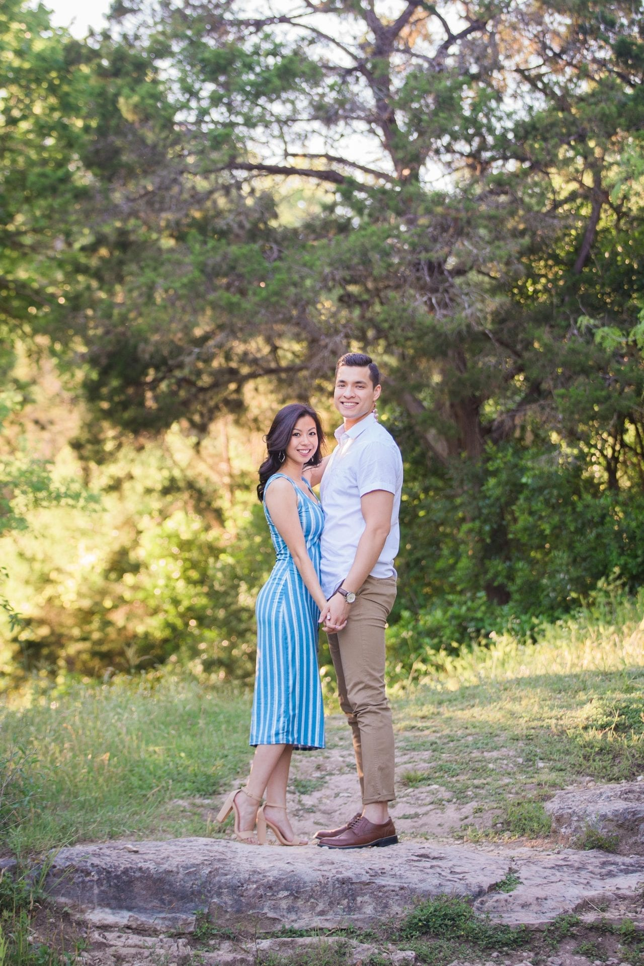 Jennifer and Nhon engagement New Braunfels standing on path