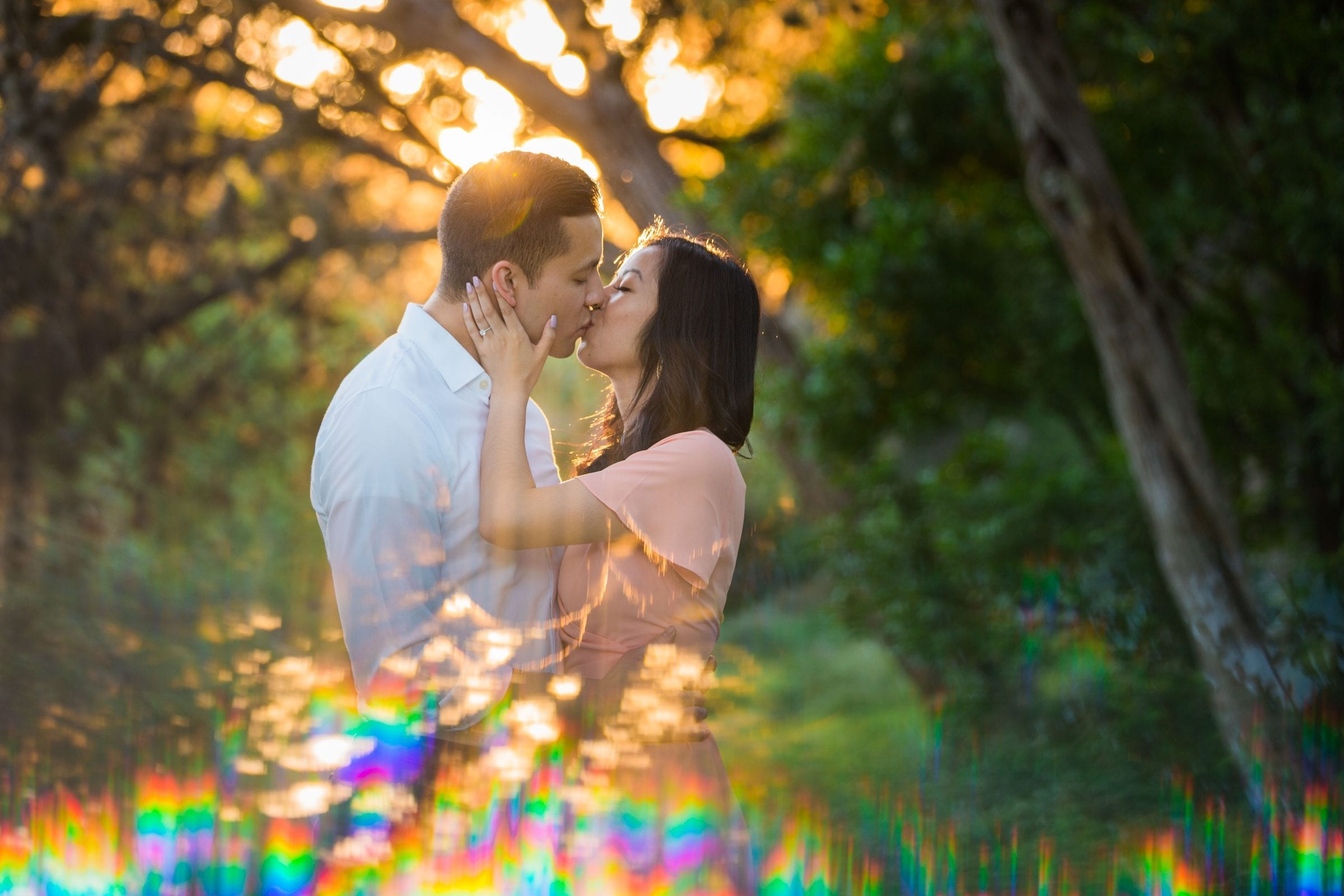 Jennifer and Nhon engagement New Braunfels sunset kiss