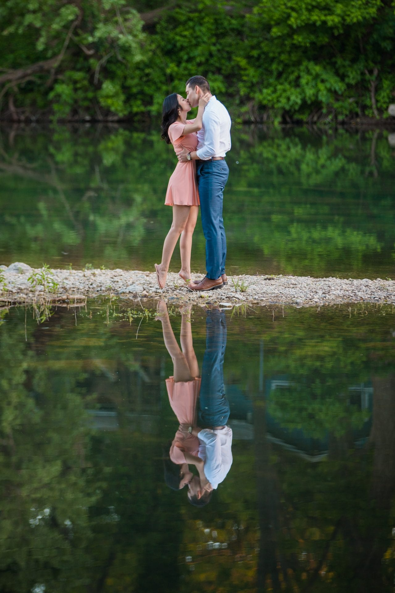 Jennifer and Nhon engagement New Braunfels reflection