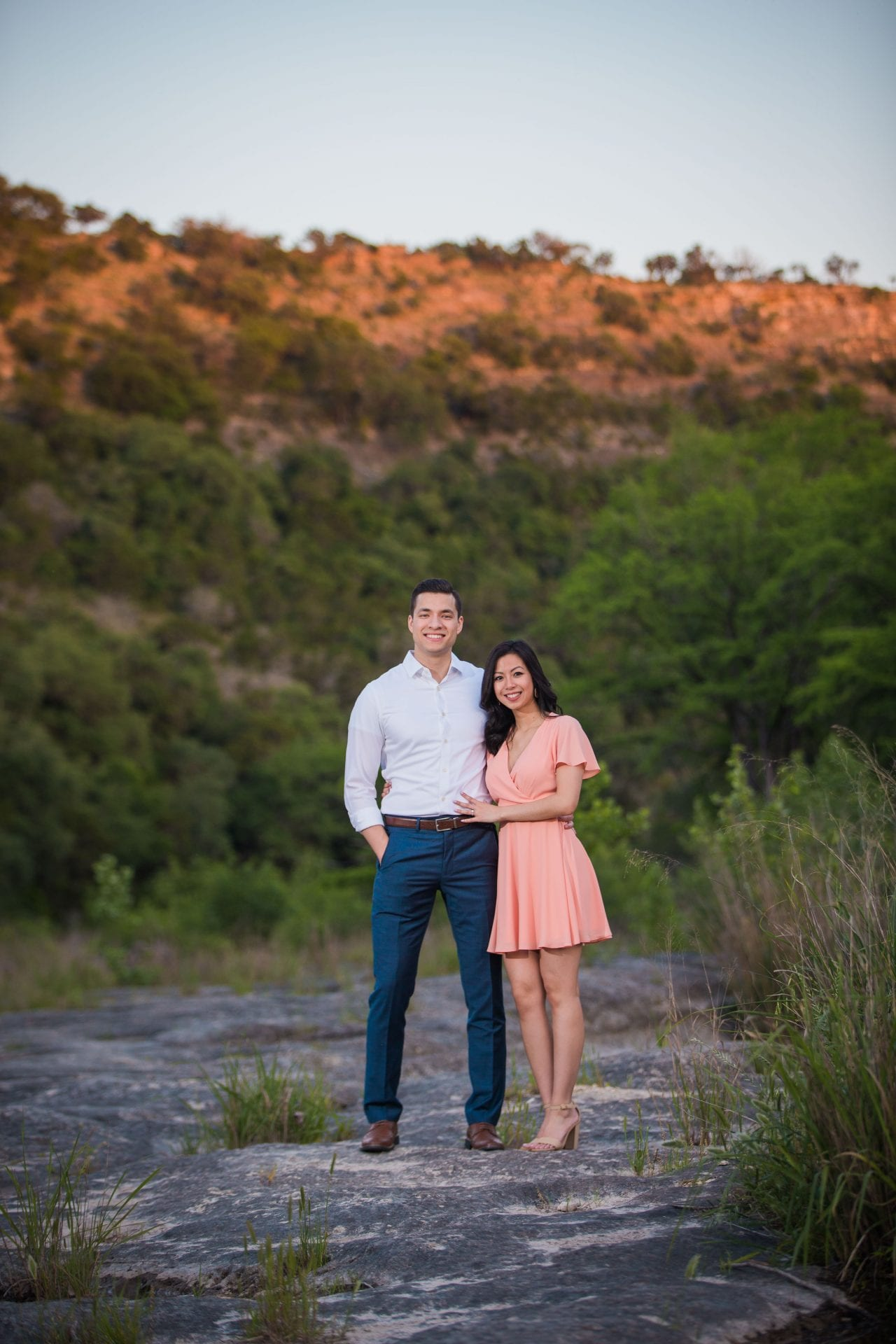 Jennifer and Nhon engagement New Braunfels sunset photo
