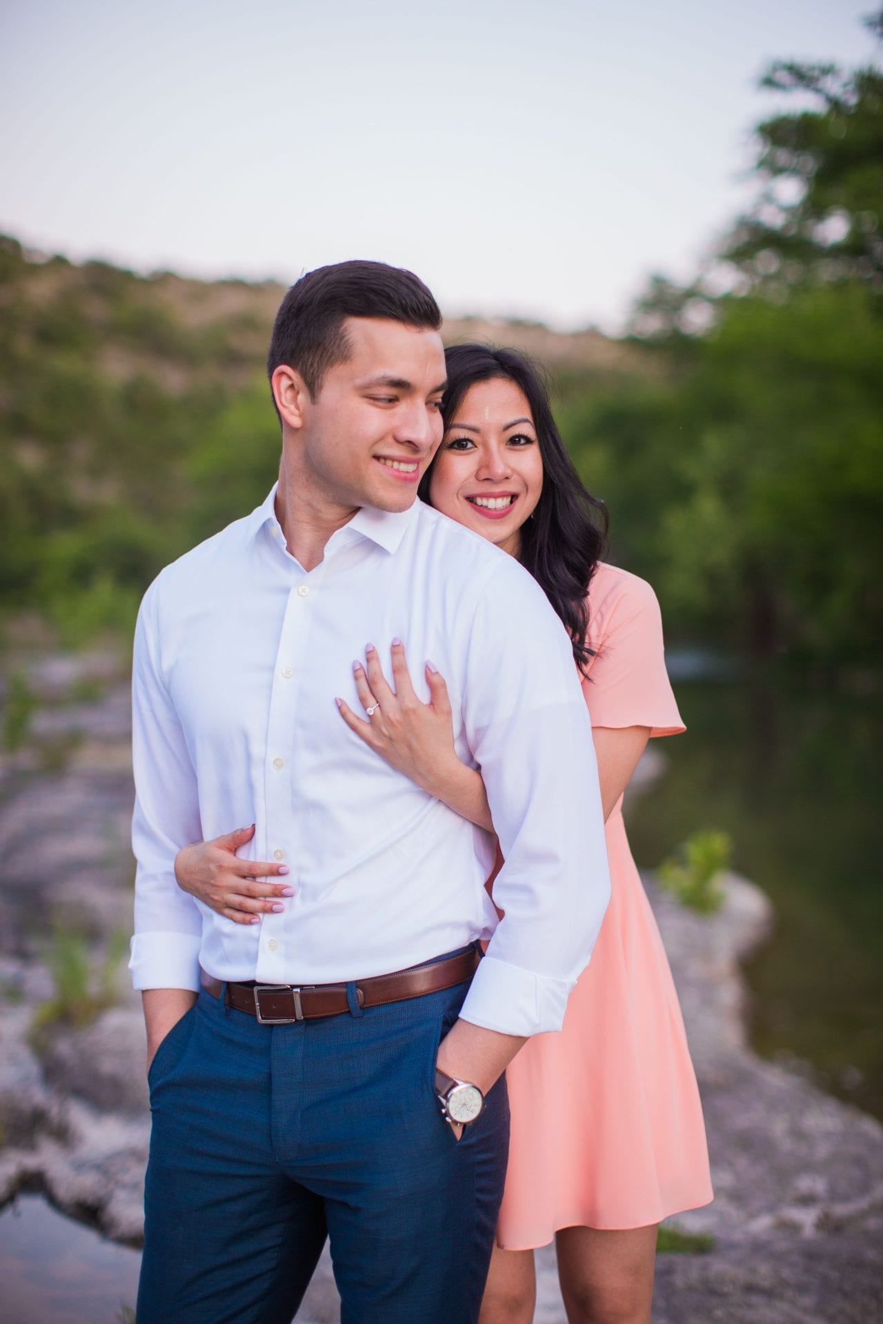 Jennifer and Nhon engagement New Braunfels sunset close up