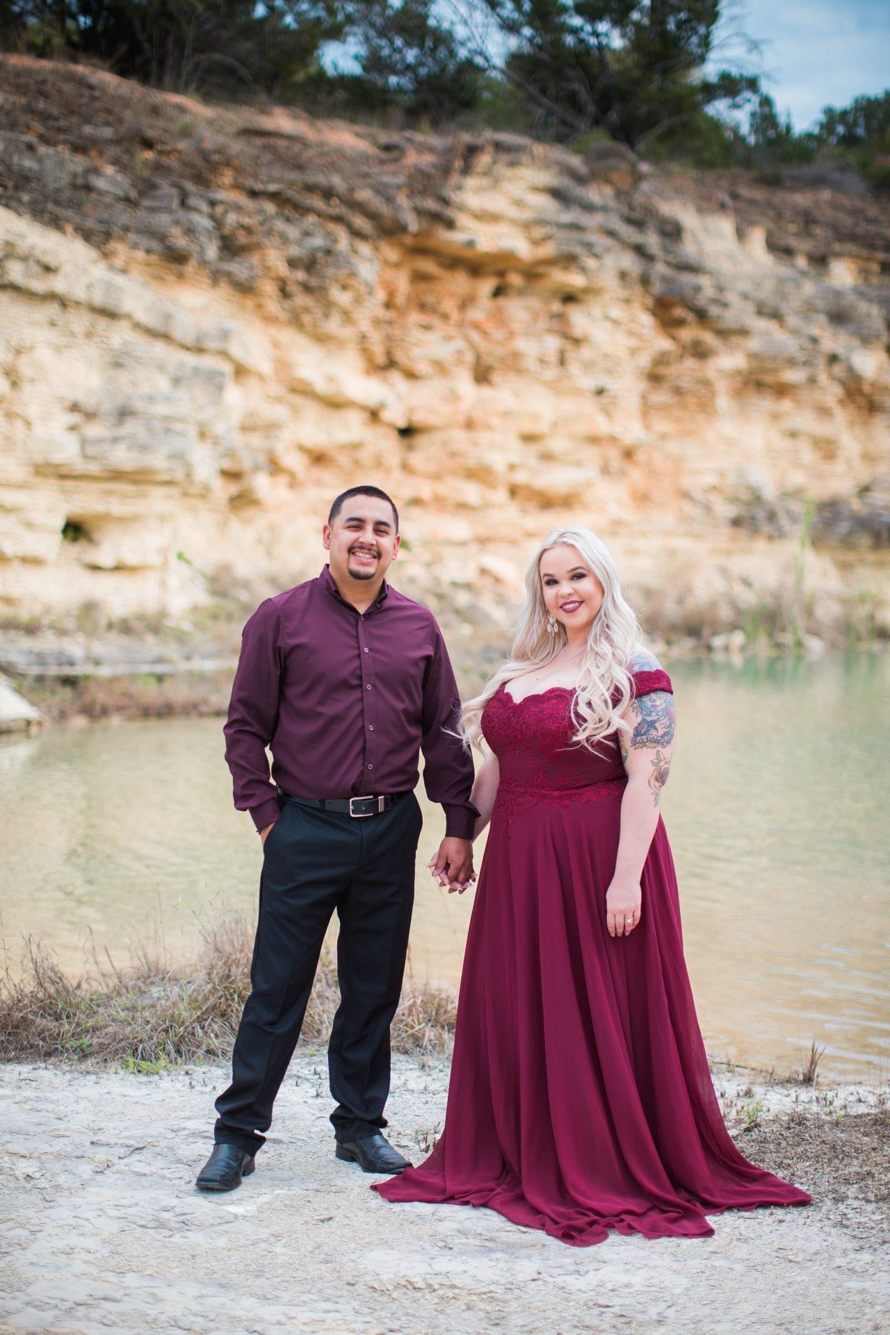 Katie and Gabe engagement session Canyon Lake dam gorge on the island yellow wall