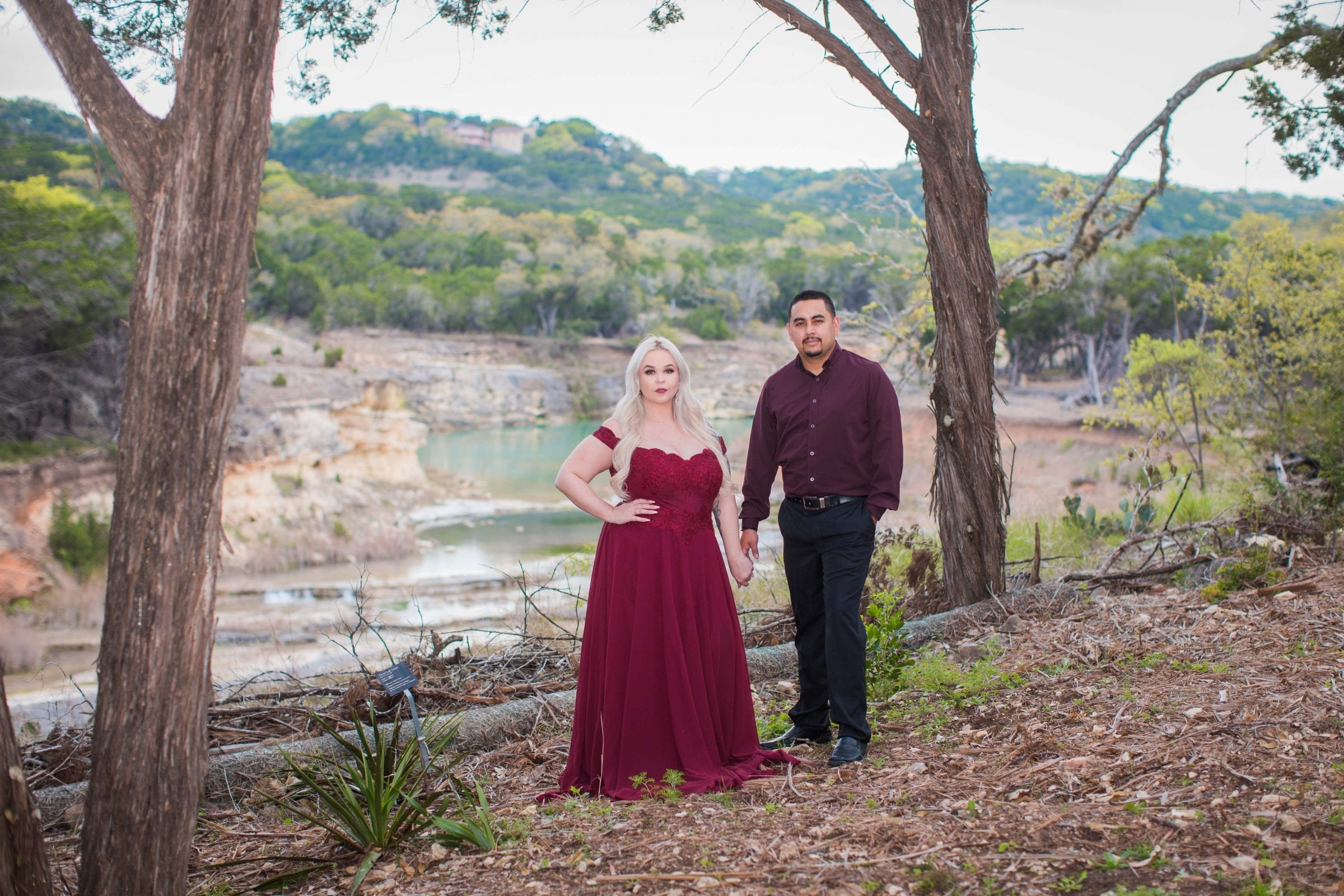 Katie & Gabe engagement session Canyon Lake dam gorge in forest