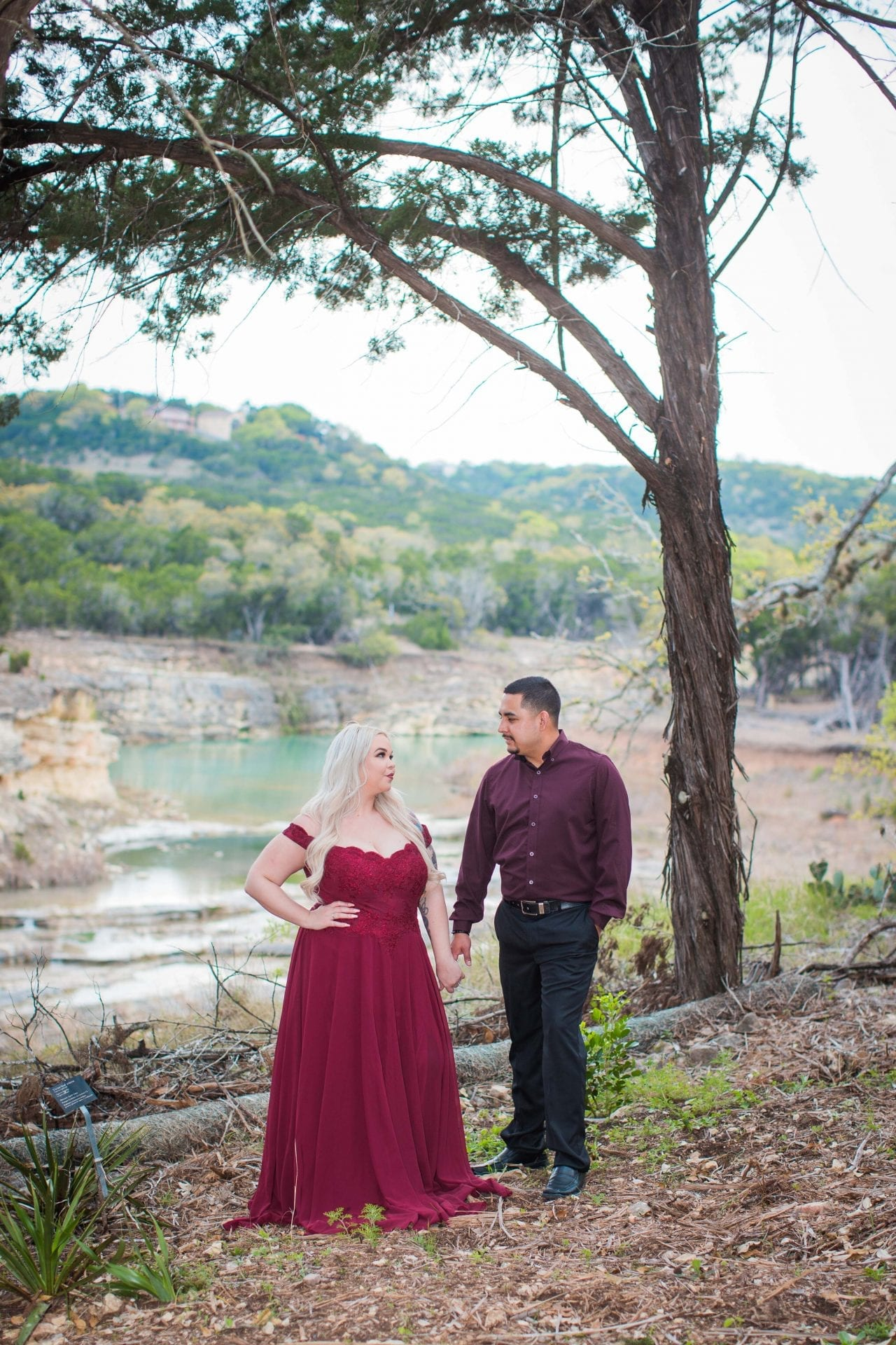 Katie & Gabe engagement session Canyon Lake dam gorge in forest closer