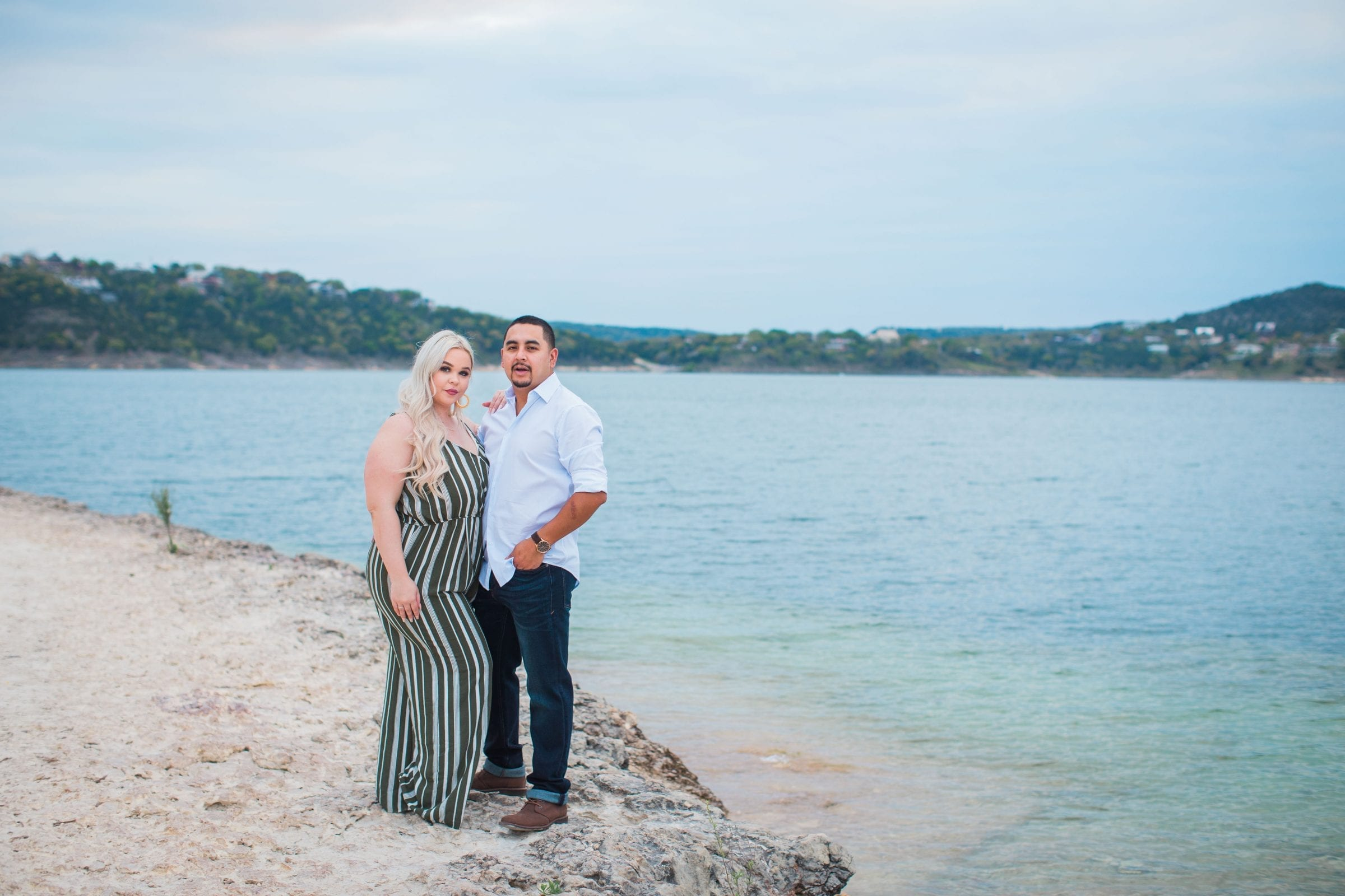 Katie & Gabe engagement session Canyon Lake dam on the water