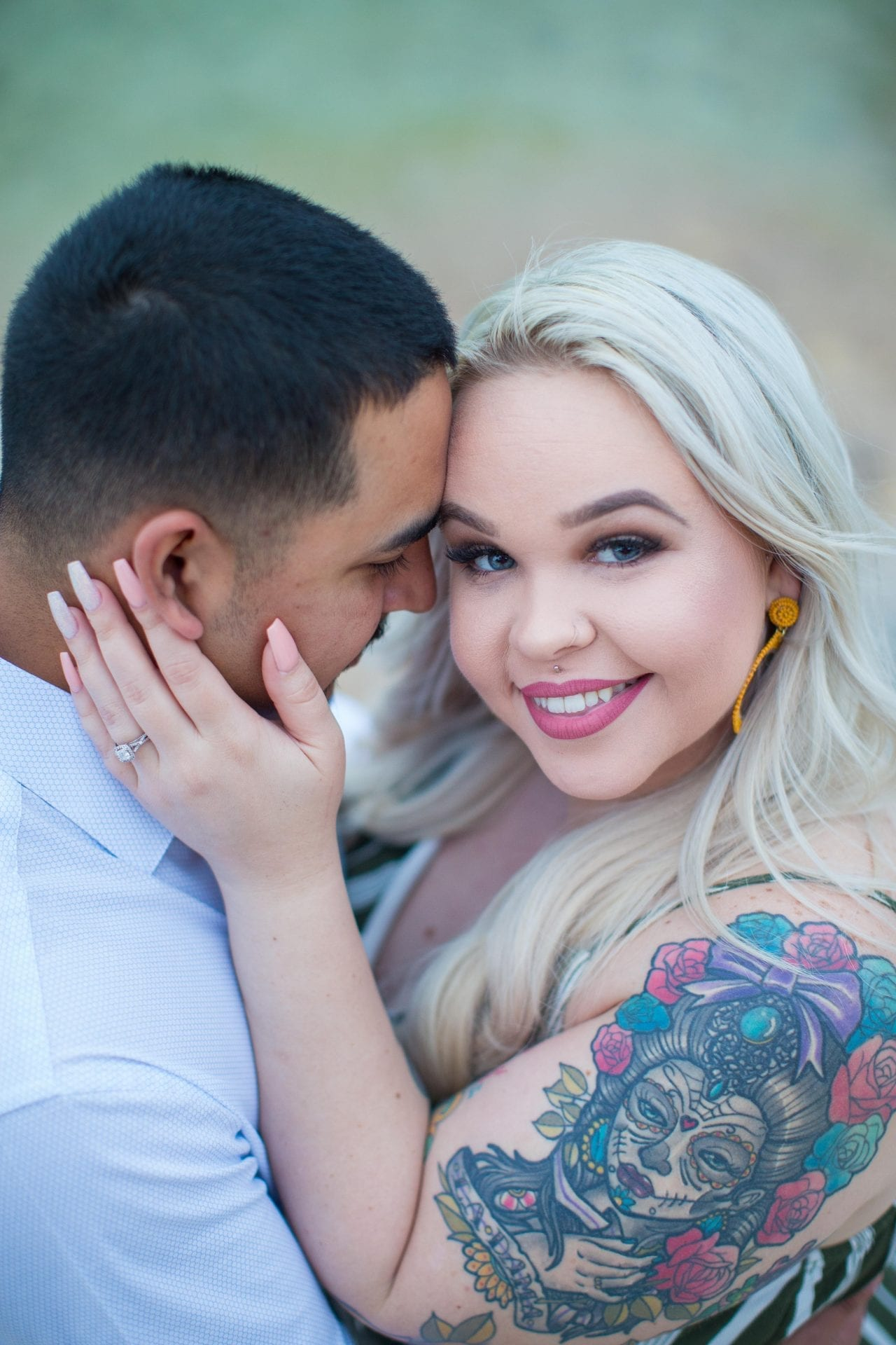 Katie & Gabe engagement session Canyon Lake dam on the water close up Katie looking