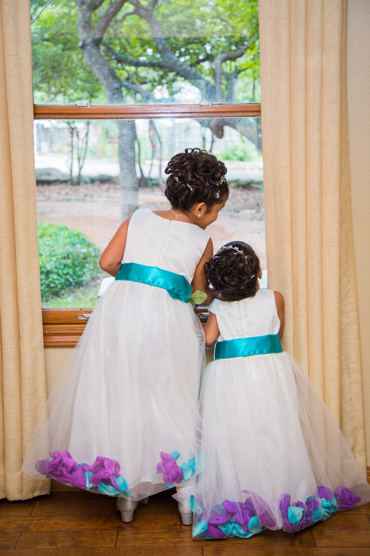 Alex and Adrien Wedding at The Gardens at Old Town little girls
