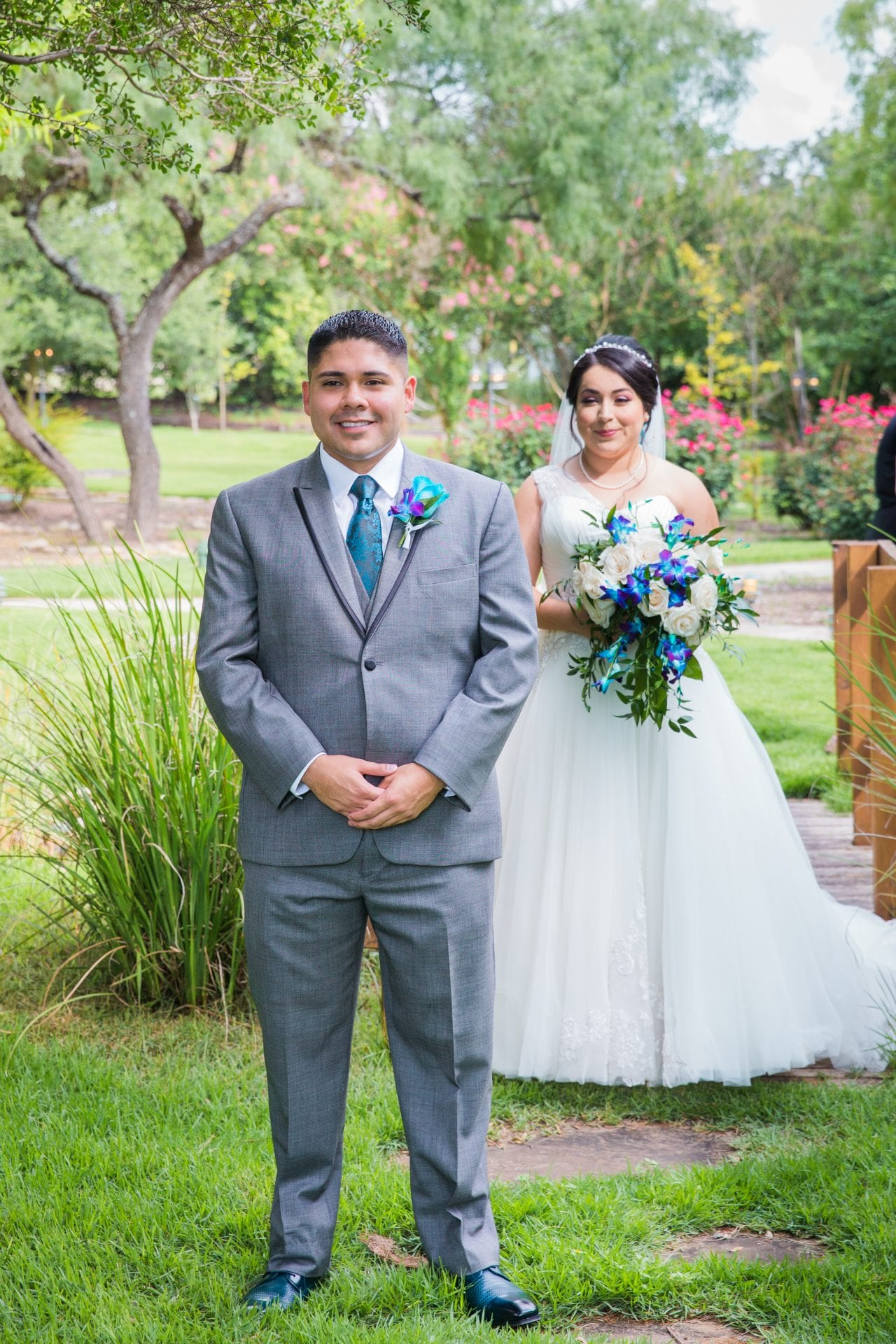 Alex and Adrien Wedding at The Gardens at Old Town 1st look walk up