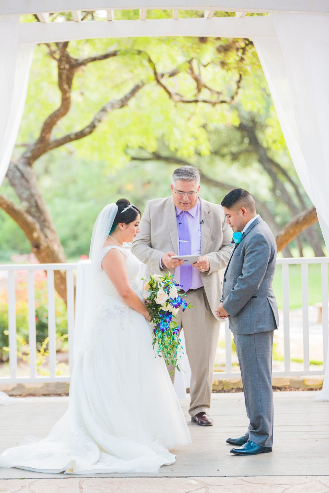 Alex and Adrien Wedding at The Gardens at Old Town ceremony prayer