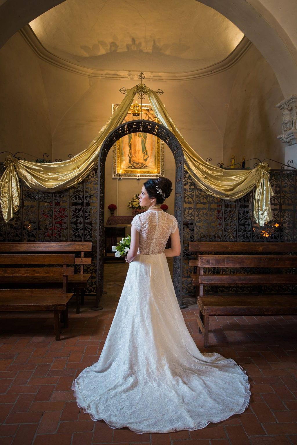 Aamber's bridal - mission San Jose rose window back