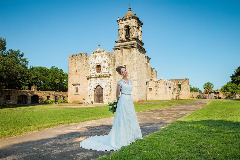 Aamber's bridal - front of mission San Jose with bride