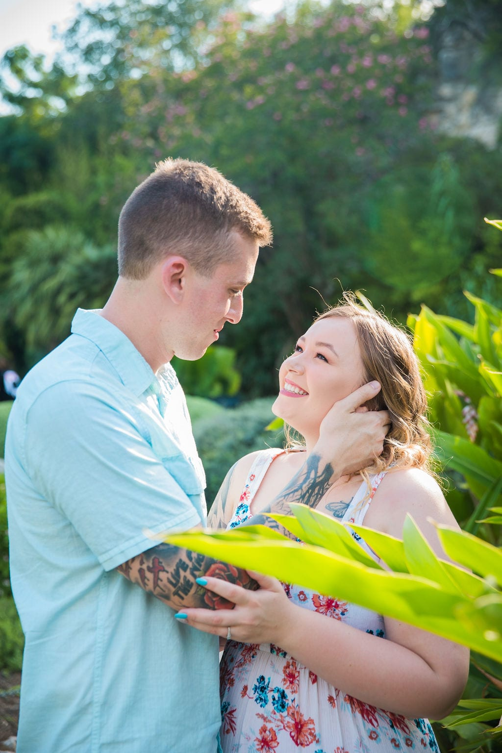 Kristina and Brandon Engagement session Japanese tea gardens her face