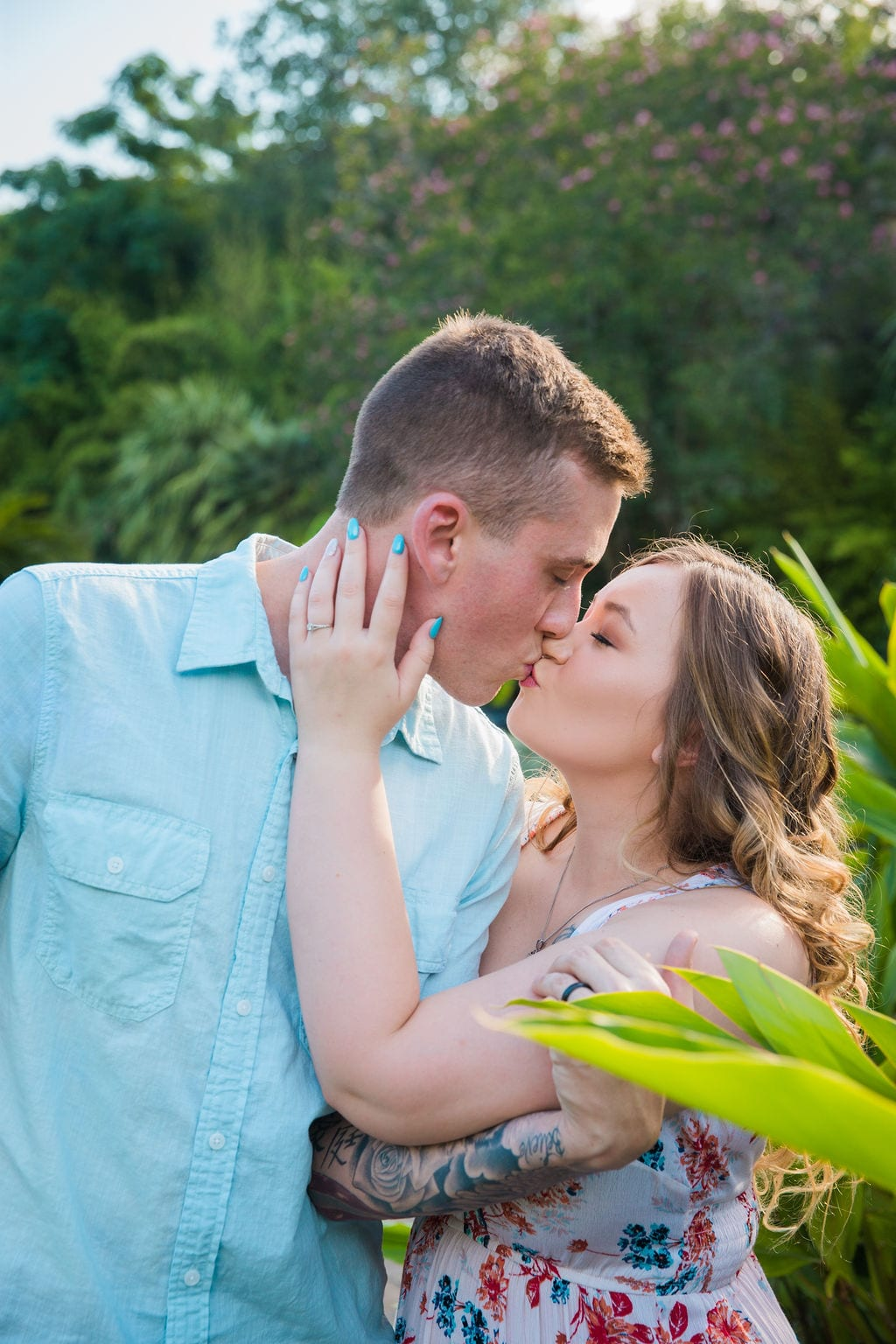 Kristina and Brandon Engagement session Japanese tea gardens kiss