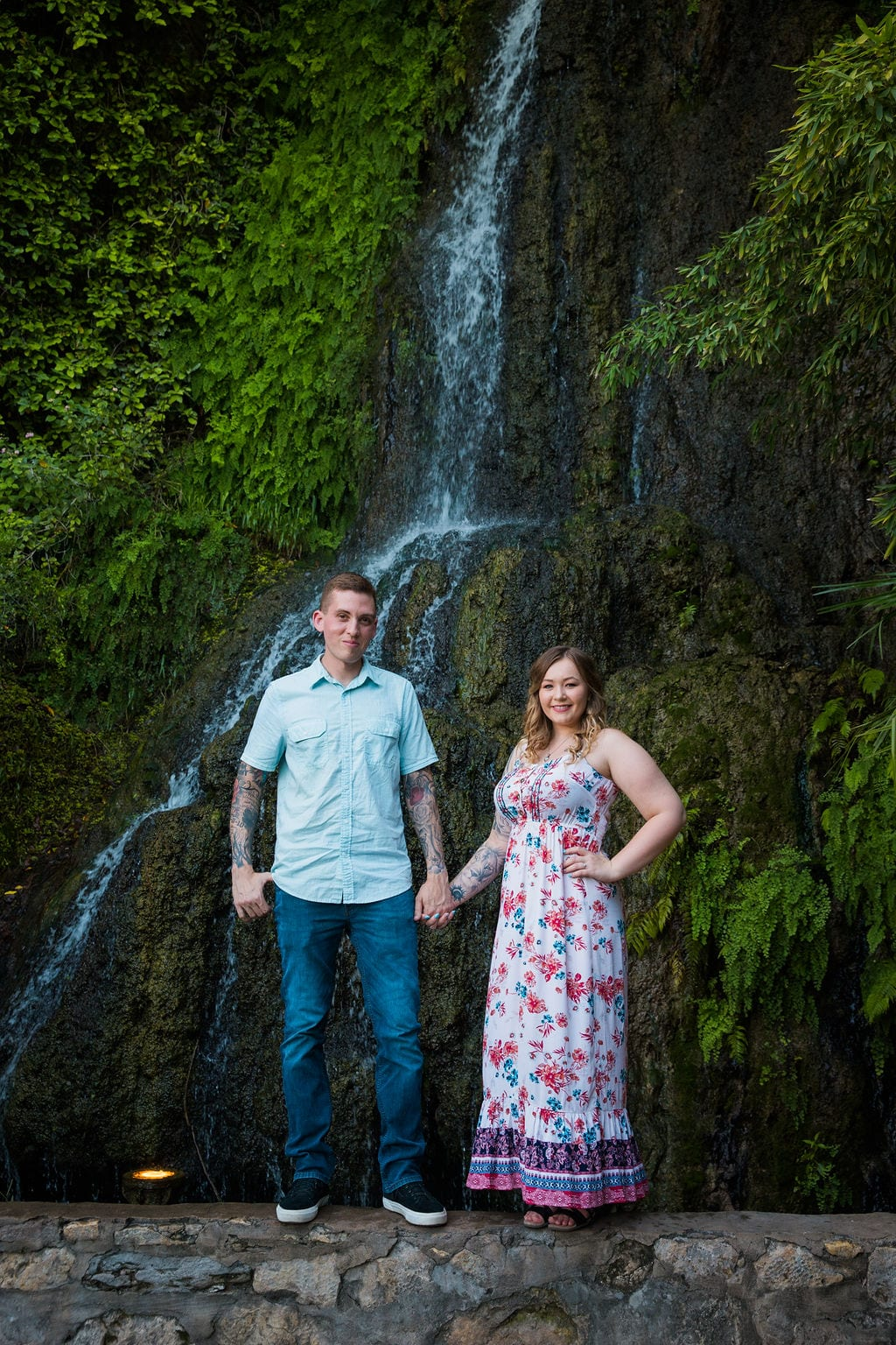 Kristina and Brandon Engagement session Japanese tea gardens waterfall