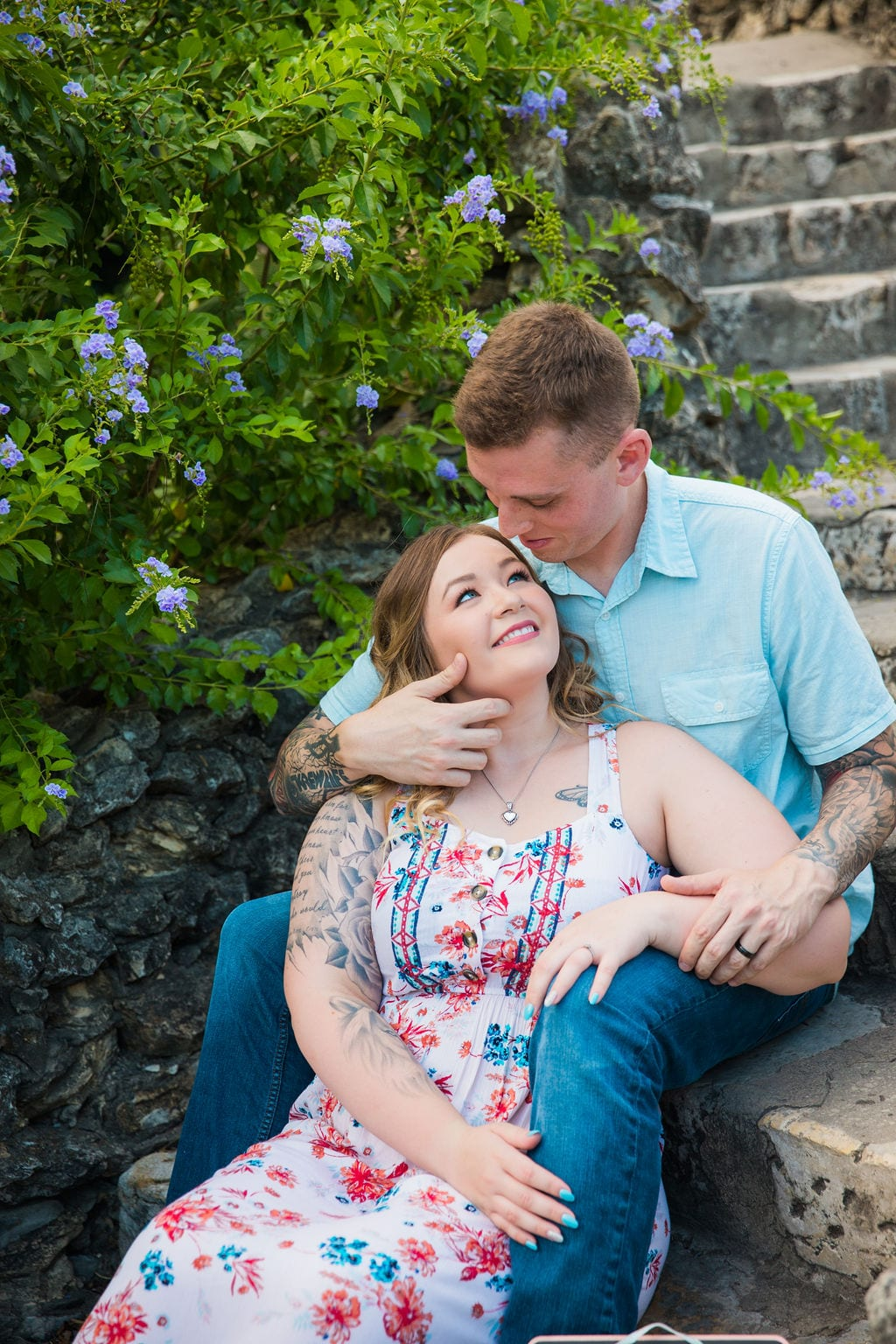 Kristina and Brandon Engagement session Japanese tea gardens sitting on stairs