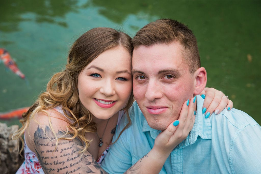 Kristina and Brandon Engagement session Japanese tea gardens faces