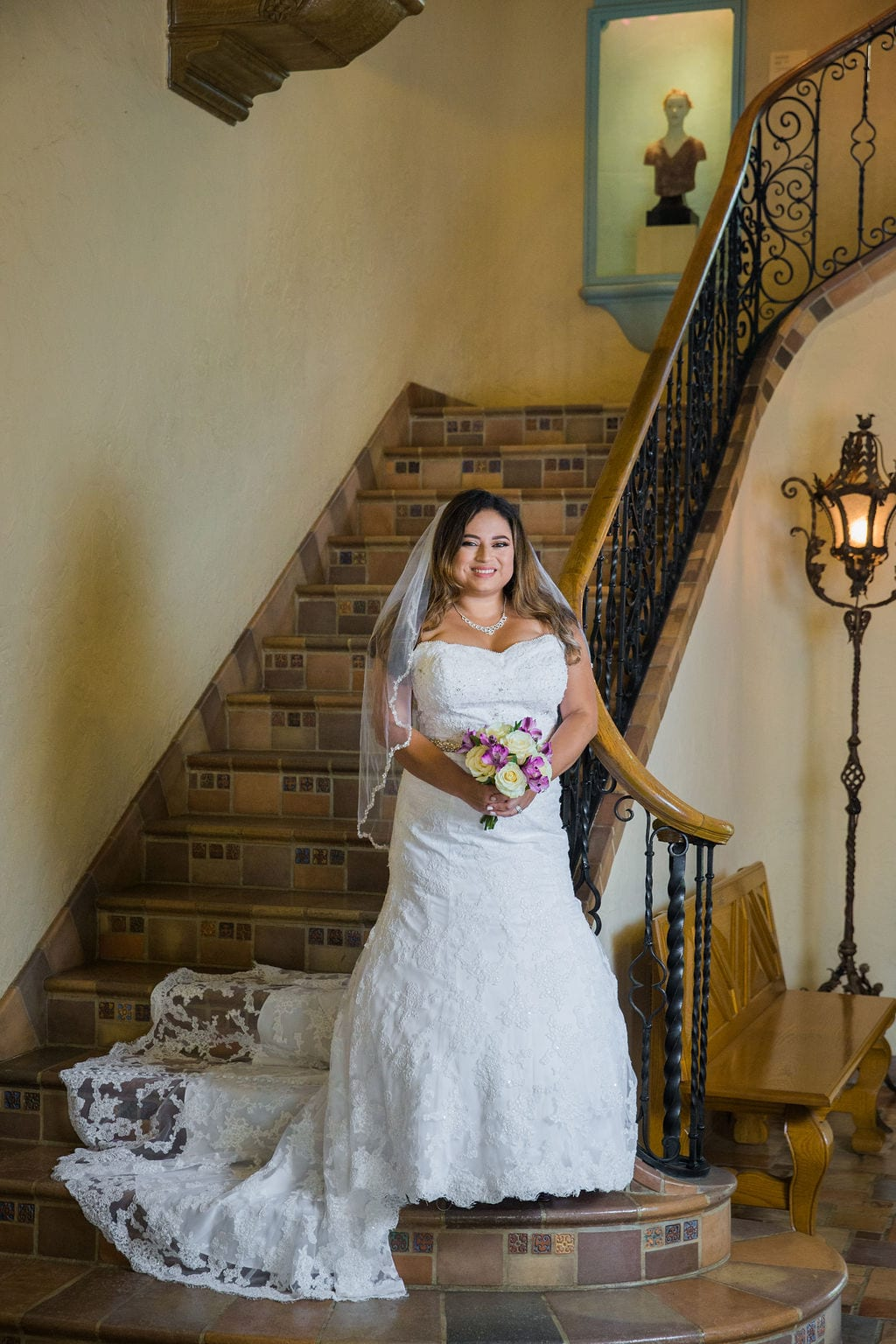 Linda's bridal session at the McNay on the stairs