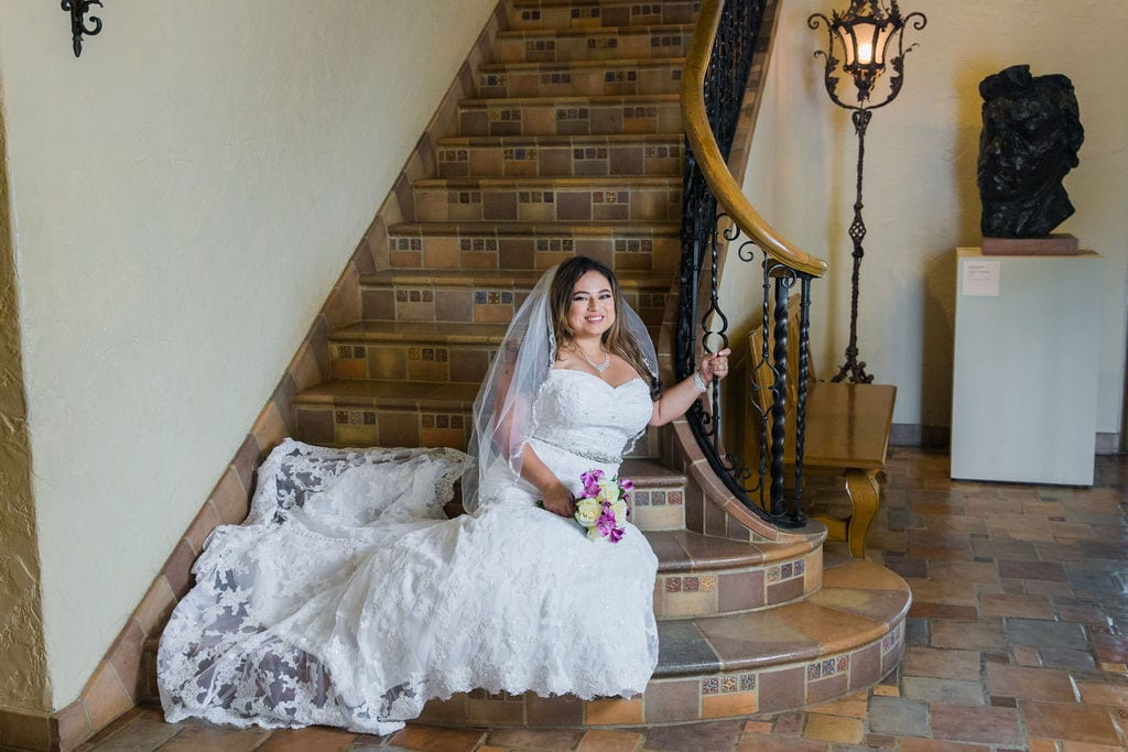 Linda's bridal session at the McNay sitting on stairs