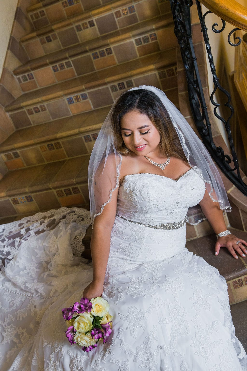 Linda's bridal session at the McNay close up on stairs