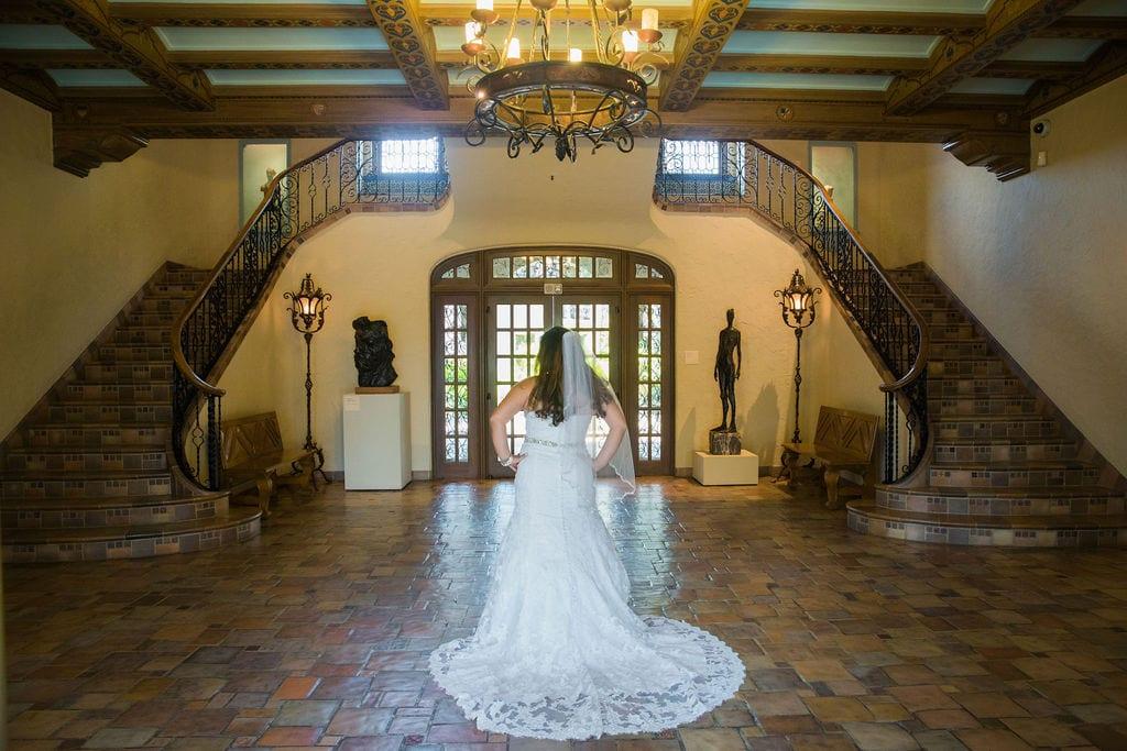 Linda's bridal session at the McNay grand entry back