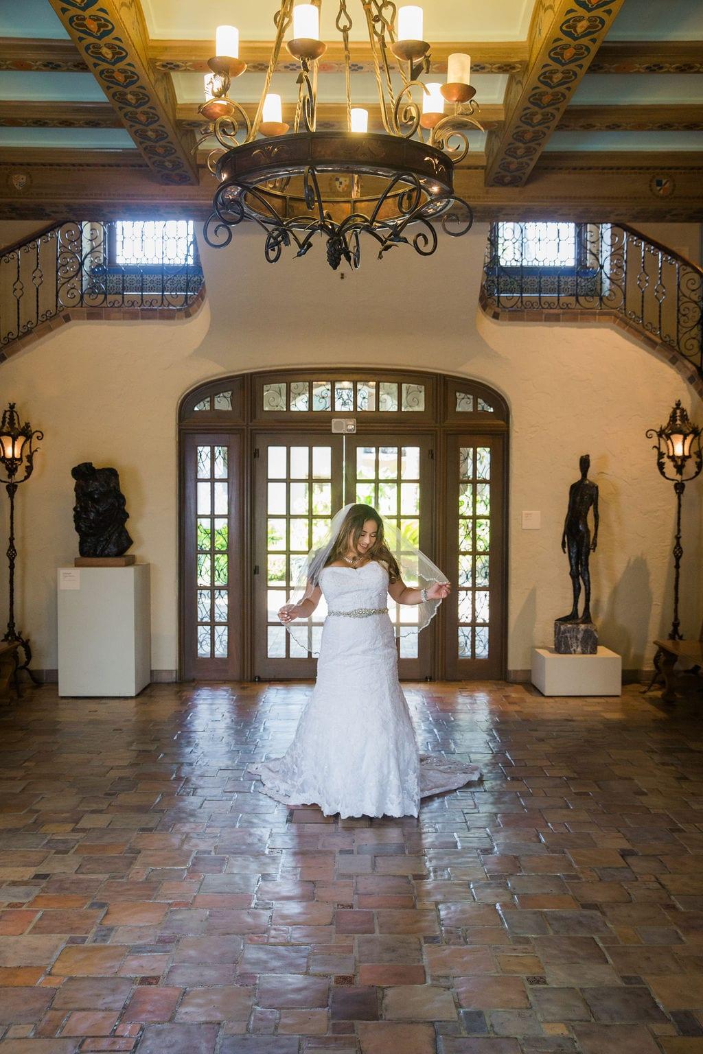 Linda's bridal session at the McNay grand entry veil