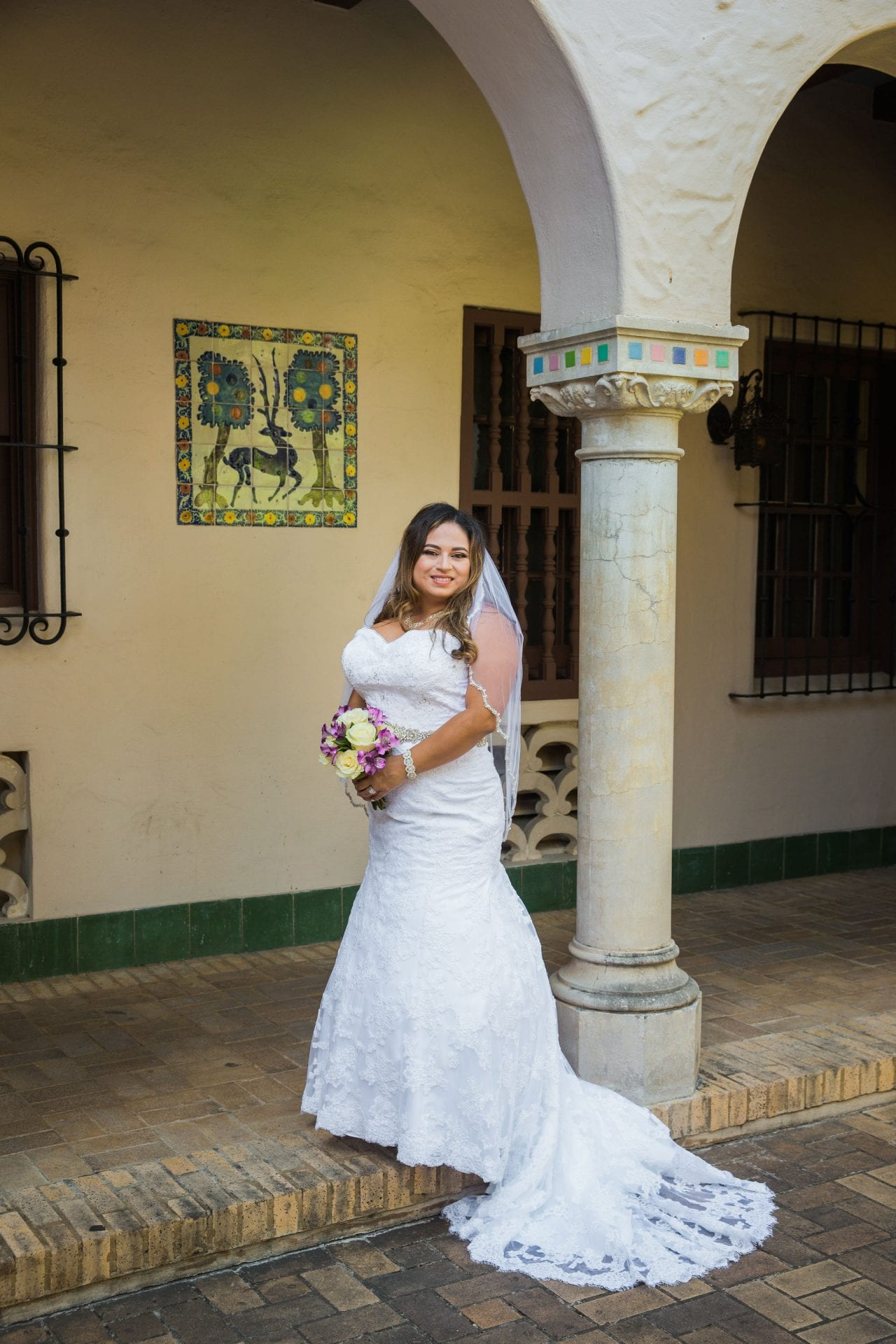 Linda's bridal session at the McNay iin the arches