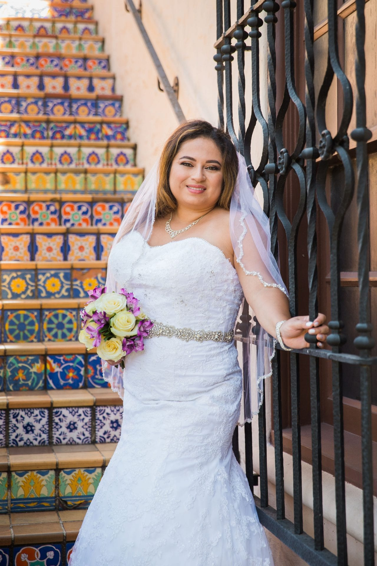 Linda's bridal session at the McNay outdoor window
