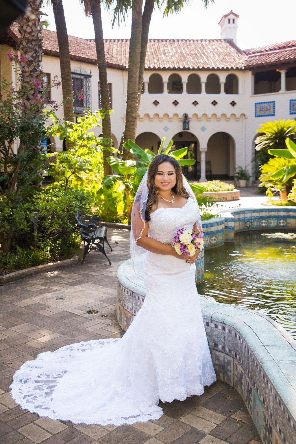 Linda's bridal session at the McNay by the fountain
