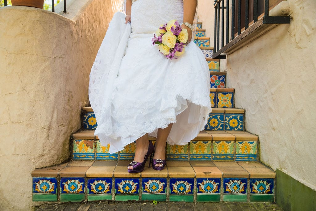 Linda's bridal session at the McNay feet on stairs